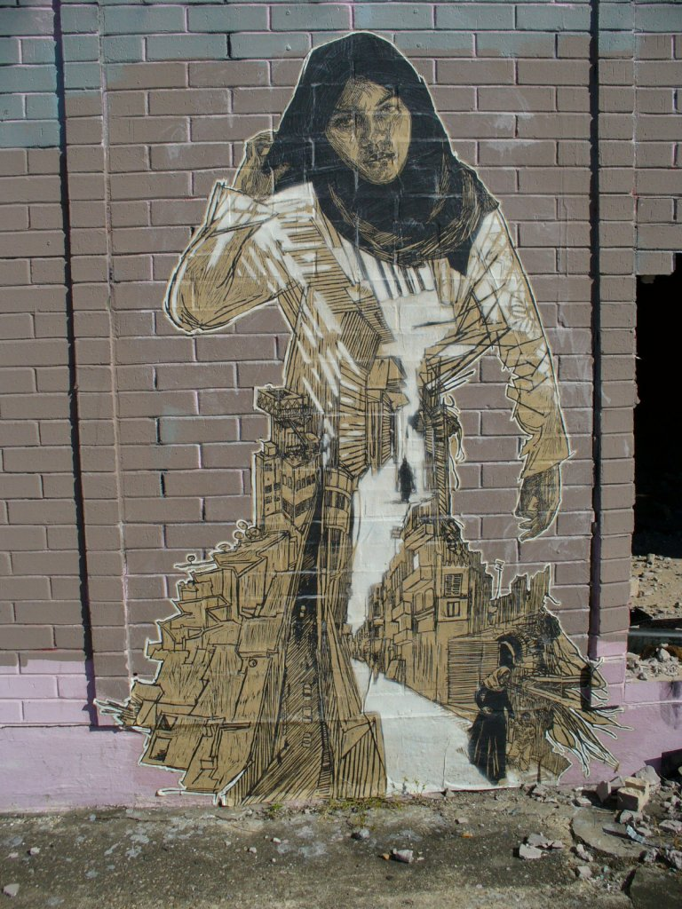 Street art by Swoon, New Orleans 2010