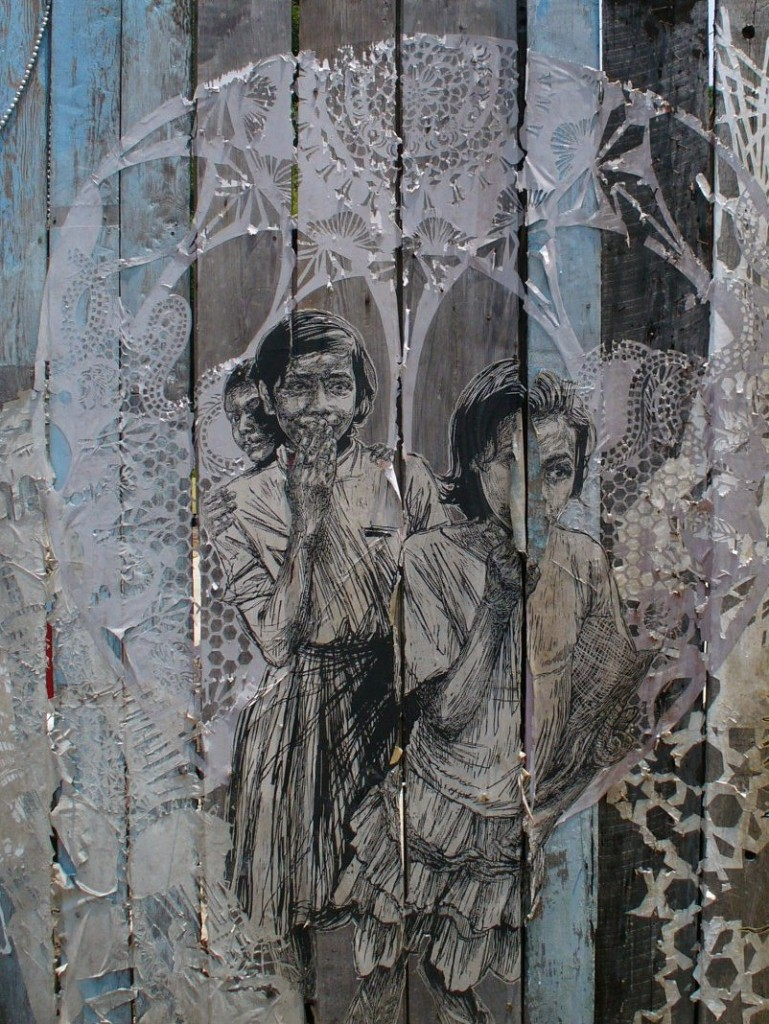 Street art by Swoon, New Orleans 2011